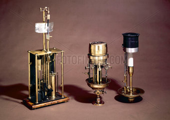 Three lighthouse lamps  mid-19th century-early 20th century.