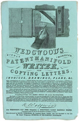 Wedgwood's 'Patent Manifold Writer for copying letters'  1834.