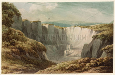 The tin mine at Carclaise  Cornwall  c 1800.