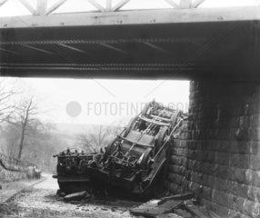 Railway accident  c 1890.