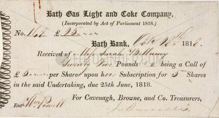 Company shares reciept  1818.