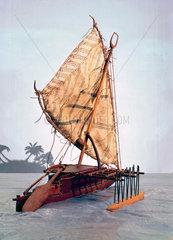 Fijian outrigger canoe.