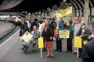 Political protesters  York Station  1991.