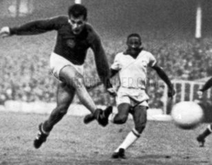 Janos Farkas scores for Hungary  July 1966.
