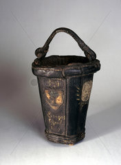 Black leather fire bucket  probably 18th century.