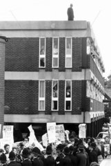 Socialists protesting over the visit of Margaret Thatcher  22 May 1987.