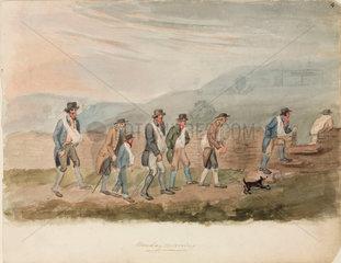 Miners walking to work  Northumberland  c 1805-1820.