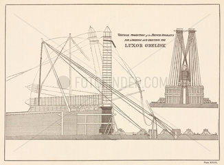 French apparatus for lowering and erecting the Luxor Obelisk  19th century.