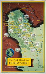 'The Peak District of Derbyshire'  BR (LMR) poster  1948-1965.
