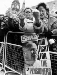 OAPs' lobby  London  March 1981.