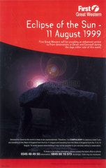 'Eclipse of the Sun - 11 August 1999'  First Great Western Poster  1999.