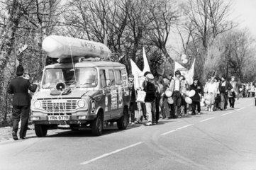 Anti-nuclear protest  USAAF Burtonwood  Merseyside  c 1984.