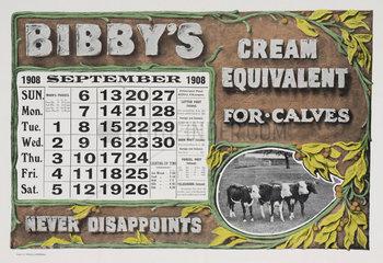'Bibby's Cream Equivalent for Calves'  calendar  1908.