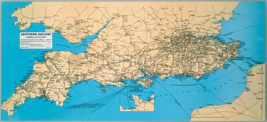 Southern Railway general system map. SR car