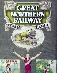 Front cover of the 'Great Northern Railway Timetable'  early 20th century.