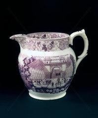 Glazed jug with claret mauve transfer  1830.