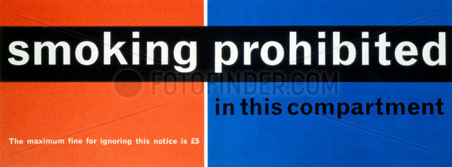 'Smoking Prohibited in this Compartment'  BR notice  c 1960s.