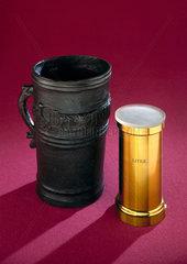 Bronze Exchequer standard gallon measure  c 1495  and litre measure.