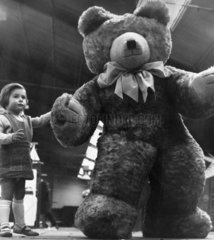 Child with giant teddy  Manchester  April 1966.