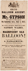 Handbill advertising Gypson's grand balloon ascent  3 July 1847.