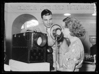 Demonstrating the Cossor oscillograph  Radiolympia  London  1936.