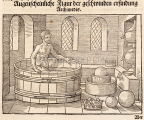 Archimedes getting into his bath  3rd century BC  (1548).