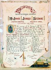 Certificate presented to John James Savage  1893.