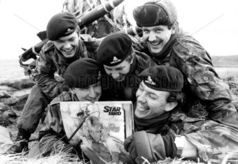 British soldiers with pin-up  Falkland Islands  December 1982.