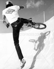 BMX cyclist in Lee Cooper jeans and tee-shirt  January 1983.