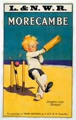 'Morecambe Loosens Your Stumps!'  LNWR poster  early 20th century.