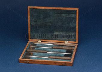 Case containing four skull saws by Weiss  c 1800.