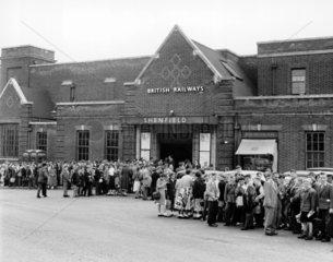 Schoolchildren gathered outside Shenfield