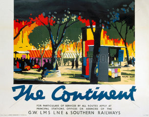 'The Continent'  GWR/LMS/LNER/SR poster  1923-1947.