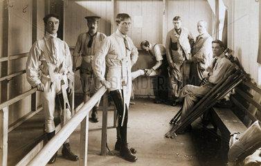 Soldiers wearing artificial legs  c 1915-1918.