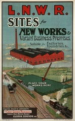 'Sites for New Works'  LNWR poster  c 1900-1910.