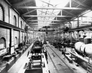 Erecting shop at Crewe Works  Cheshire  c 1900.