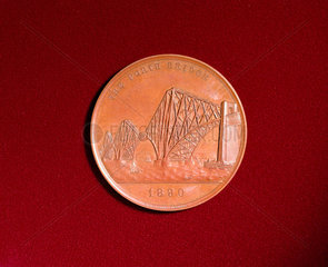Medal celebrating the opening of the Forth Bridge  Scotland  1890.