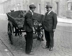 Ernest Bevin canvassing a street cleaner  Gateshead  15 October 1931.