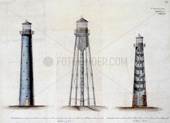 Three lighthouse designs  c 1850.