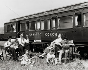 Camping coach  Cheddar Station  Somerset  1951.