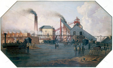 'North Eastern coalfield: colliery pit-head and coking ovens'  c 1845.