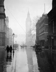 Shadow of Big Ben at Westminster  London  2 April 1931.