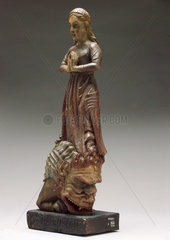 Wooden statue of Saint Margaret  possibly French  1700-1850.
