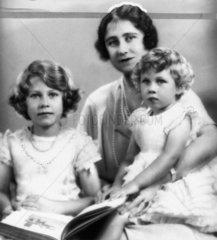 Queen Elizabeth with Princesses Elizabeth and Margaret  1933.
