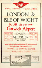 'London & Isle of Wight'  RAS/Spartan Air Lines poster  1936.