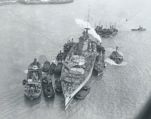 Aerial view of HMS 'Nelson'  Portsmouth  11 January 1934.