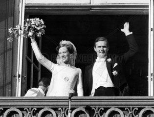 Princess Margrethe of Denmark weds Prince Henrik  10 June 1967.