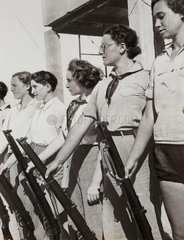 American women with guns  Jewish settlement in Palestine  c 1930.
