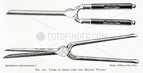 Irons used for the Marcel Wave hairdressing technique  c 1890s.