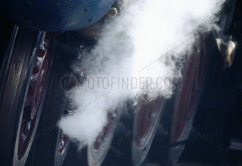 Close up of locomotive motion.